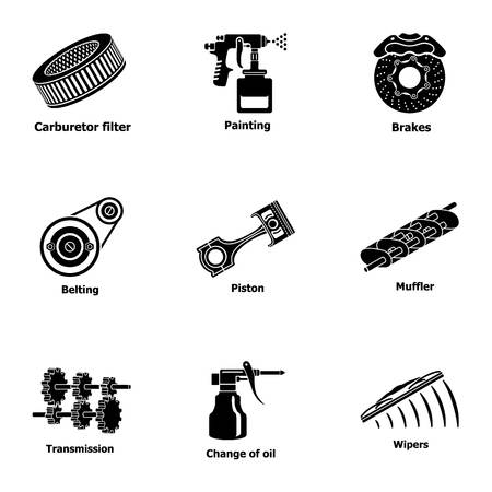 Fix machinery icons set. Simple set of 9 fix machinery vector icons for web isolated on white background