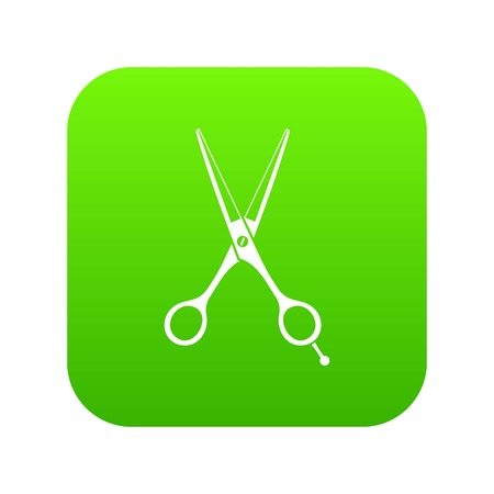 Scissors icon digital green for any design isolated on white vector illustration Vectores
