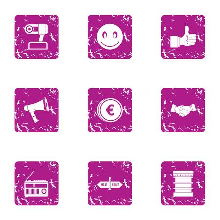 Question icons set. Grunge set of 9 question vector icons for web isolated on white background