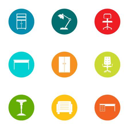 Table icons set. Flat set of 9 table vector icons for web isolated on white background