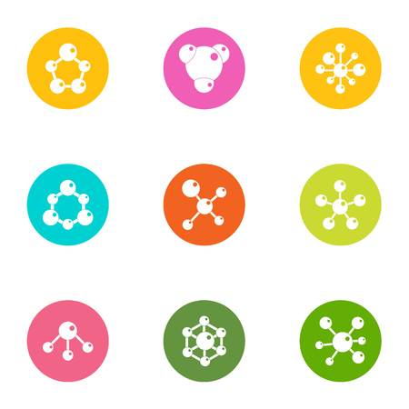 Study of chemistry icons set. Flat set of 9 study of chemistry vector icons for web isolated on white background
