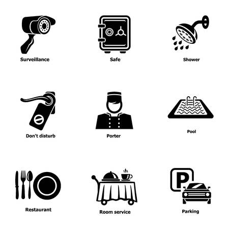 Parking spot icons set. Simple set of 9 parking spot vector icons for web isolated on white background