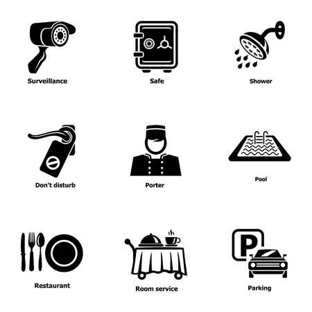 Parkplatzsymbole eingestellt. Einfacher Satz von 9 Parkplatzvektorikonen für Web lokalisiert auf weißem Hintergrund