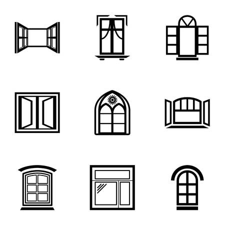 Window frame icons set. Simple set of 9 window frame vector icons for web isolated on white background