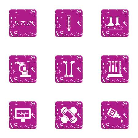 Elemental composition icons set. Grunge set of 9 elemental composition vector icons for web isolated on white background