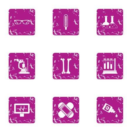 Elemental composition icons set. Grunge set of 9 elemental composition vector icons for web isolated on white background