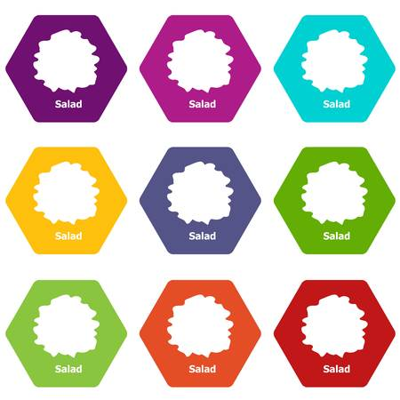 Salad icons 9 set coloful isolated on white for web