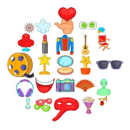 Cinema icons set. Cartoon set of 25 cinema vector icons for web isolated on white background
