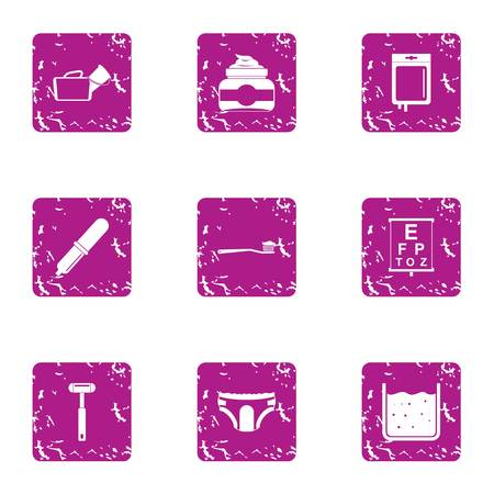 Morning procedure icons set, grunge style