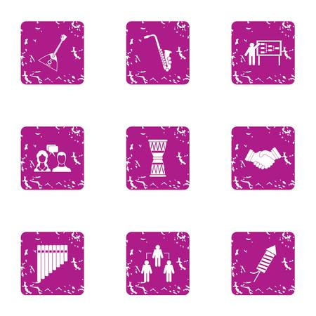 Music procedure icons set. Grunge set of 9 music procedure vector icons for web isolated on white background