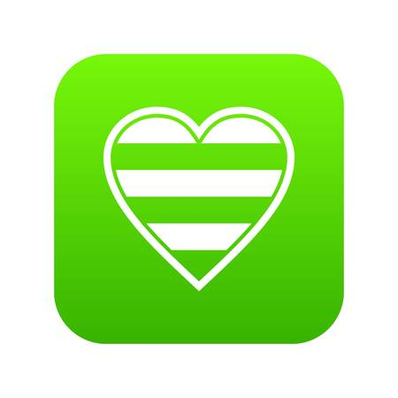 Heart LGBT icon digital green for any design isolated on white vector illustration