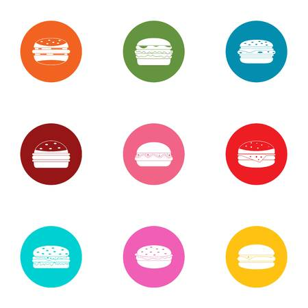 Beefburger icons set. Flat set of 9 beefburger vector icons for web isolated on white background 矢量图像