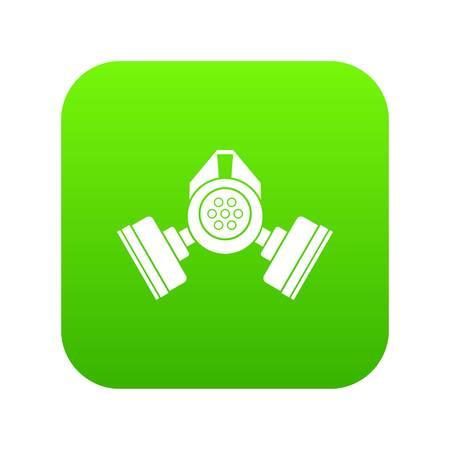 Icono de máscara de gas verde digital para cualquier diseño aislado en la ilustración de vector blanco