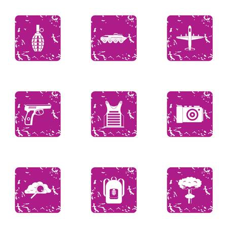 Disembarkation icons set, grunge style Illusztráció