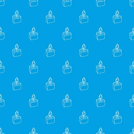 Heart candle pattern vector seamless blue repeat for any use Illustration