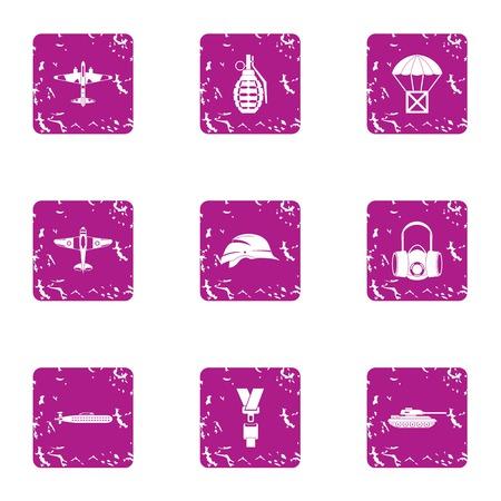 Landing icons set, grunge style Illustration