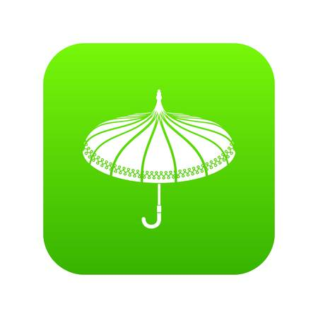 Umbrella icon green vector Illustration