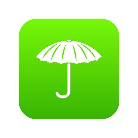Protection umbrella icon green vector