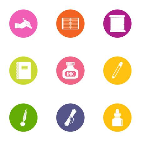 Printing ink icons set. Flat set of 9 printing ink vector icons for web isolated on white background Illustration