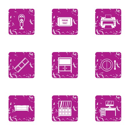 Print fine icons set. Grunge set of 9 print fine vector icons for web isolated on white background