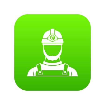 Male miner icon digital green