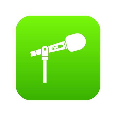 Microphone icon digital green for any design isolated on white vector illustration