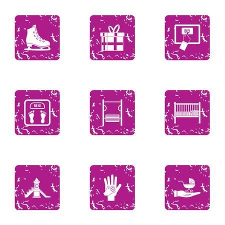 Enrichment icons set, grunge style Illustration