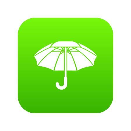 Big umbrella icon green vector Illustration