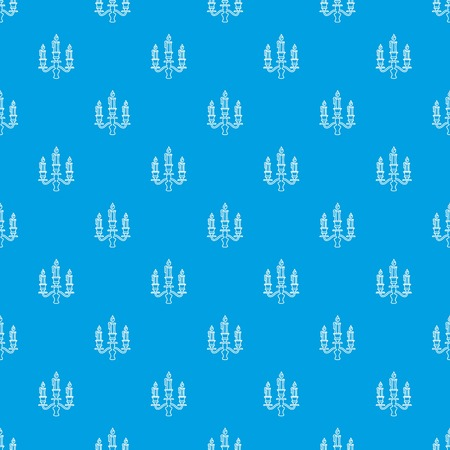Candelabra candle pattern vector seamless blue repeat for any use