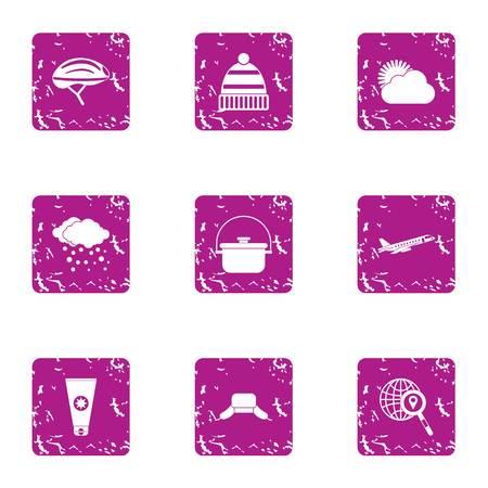 World weather icons set. Grunge set of 9 world weather vector icons for web isolated on white background Illustration