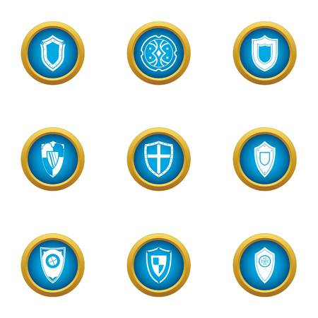 Stronghold icons set. Flat set of 9 stronghold vector icons for web isolated on white background Çizim