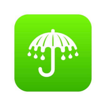 Wet umbrella icon green vector