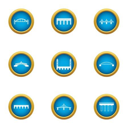 Drawbridge icons set. Flat set of 9 drawbridge vector icons for web isolated on white background