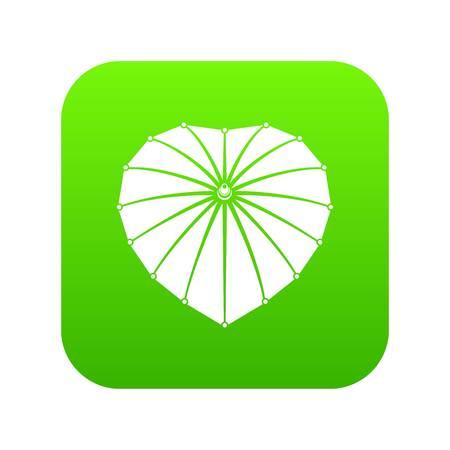 Heart umbrella icon green vector
