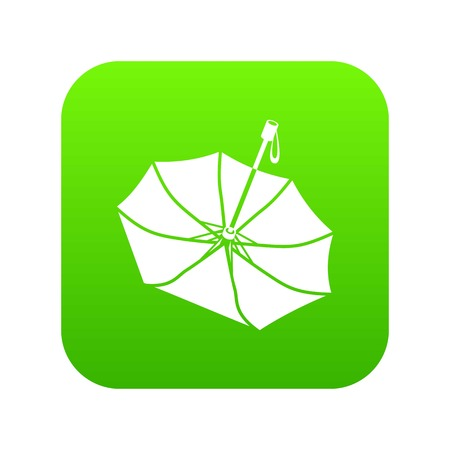 Falling umbrella icon green vector Illustration