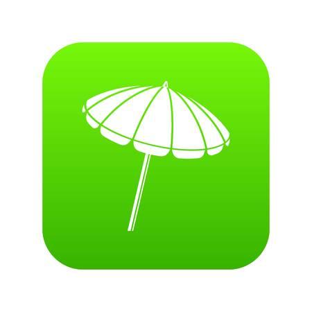 Beach umbrella icon green vector