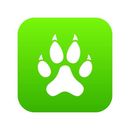 Cat paw icon digital green for any design isolated on white vector illustration