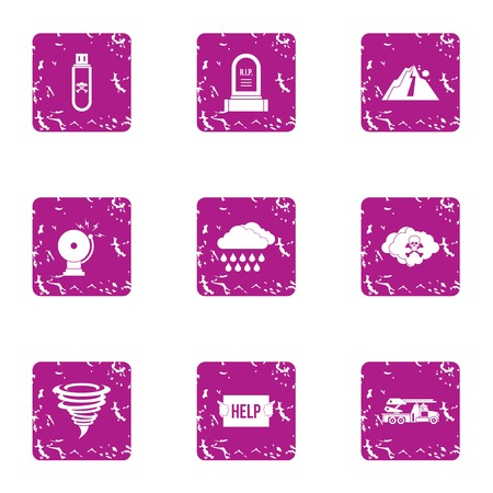 Invasion help icons set. Grunge set of 9 invasion help vector icons for web isolated on white background