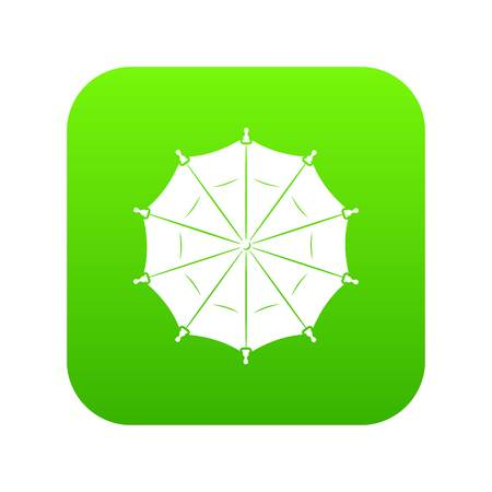Round umbrella icon green vector Vectores