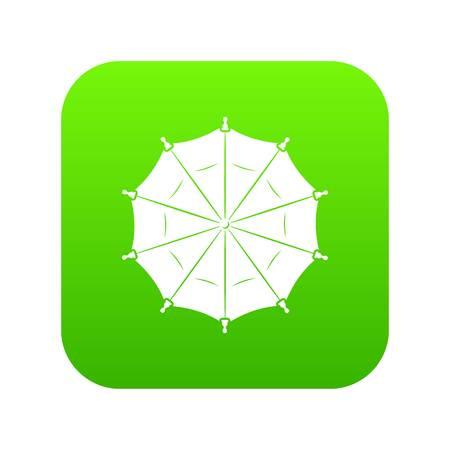 Round umbrella icon green vector Illustration