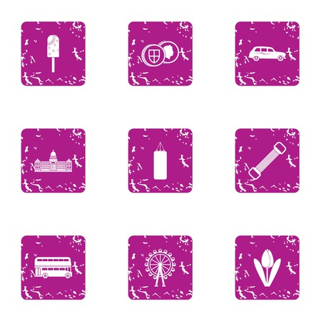 Park day icons set. Grunge set of 9 park day vector icons for web isolated on white background