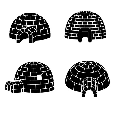 Igloo icon set. Simple set of igloo vector icons for web design on white background  イラスト・ベクター素材