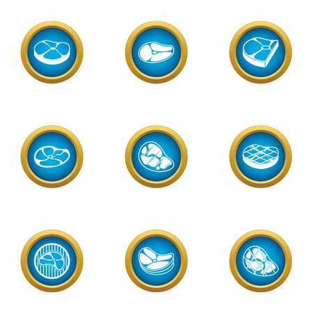 Cut of meat icons set. Flat set of 9 cut of meat vector icons for web isolated on white background