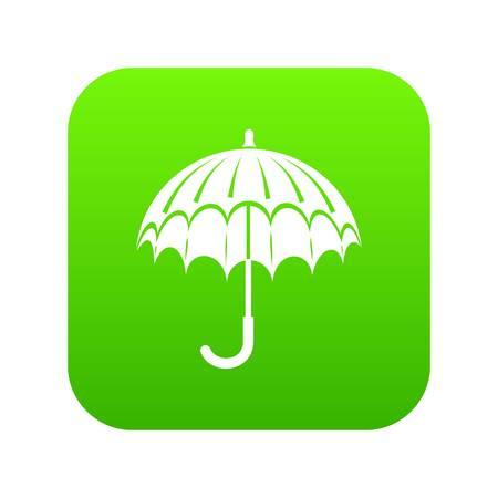 Opened umbrella icon green vector Stock Photo
