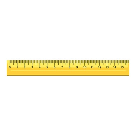 15 cm wood ruler icon, realistic style