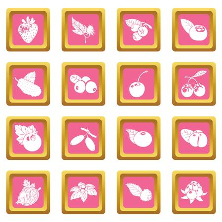 Berries icons set pink square