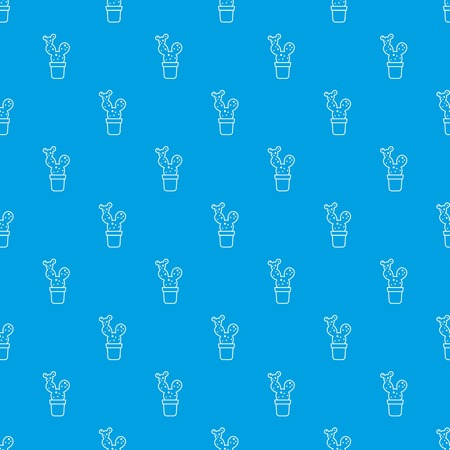 Big cactus pattern seamless blue
