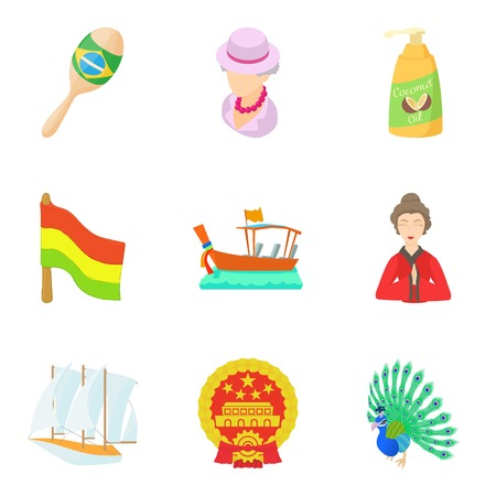Rediscovery icons set, cartoon style