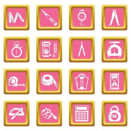 Measure precision icons set pink square
