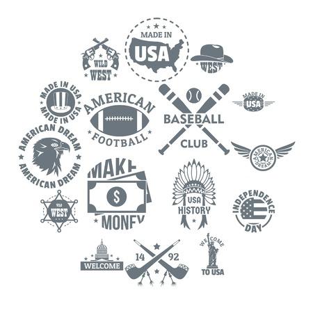 USA logo vintage icons set, simple style